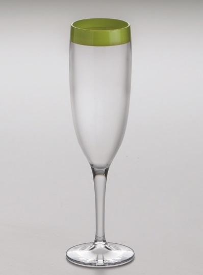 Стильный бокал для шампанских вин с зеленой окаемкой